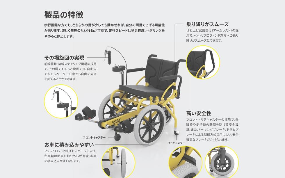 足こぎ車椅子COGY特徴